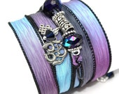 Tara - Hand Dyed Silk Wrap Bracelet with Pewter Om, and Buddhist Eternal Knot