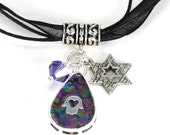 Purple Haze Handmade Hamsa Pendant with Jerusalem Star and Tanzanite Swarovski Crystal on Black Organza Neckalce