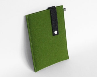 Kindle / iPad Mini case: Olive and Charcoal wool felt