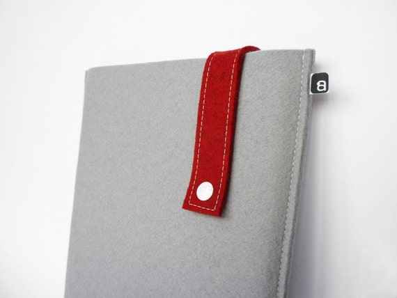 iPad case: Grey and red wool felt with white snap - for iPad 1 / iPad 2 / iPad 3