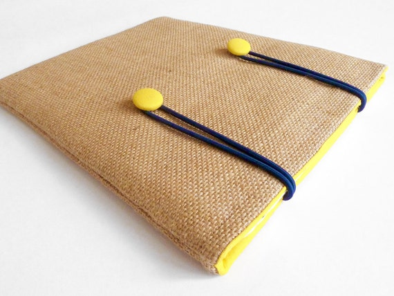 iPad sleeve - hessian with yellow buttons and navy elastic closure