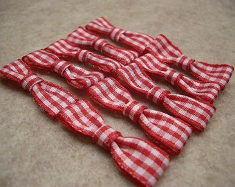 Mini Gingham Bows (set of 24)