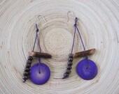 Wooden purple earrings