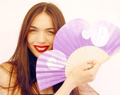 Lilac Passion. Fan hand painted original. W