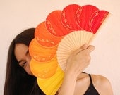 Orange bubbles. Fan hand painted original. A