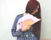 Hand-painted fan. Crazy Pink. A