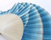 Fan hand painted original. Waves Blue. A
