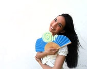 Hand-painted fan. Spyro blue and yelow. W