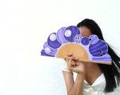 Hand-painted fan. Trousciel purple. W
