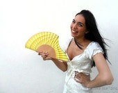 Hand-painted fan. Waves Yellow. A