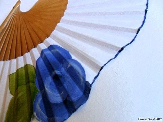 Hand-painted fan. Blue Rose. W