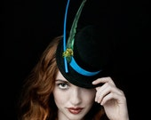 """Mini Top Hat, The Magical """"Feevers"""" With Antique Birds Wing And 21Inch Long Quill"""