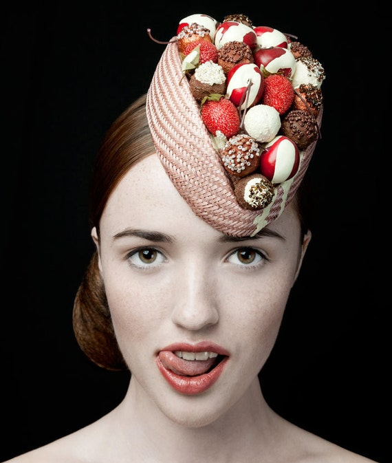The Deliciously Decadent Chocolate Cherry Bombe Hat, with CHOCOLATE colour base