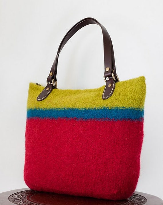 Wool is Divine - Felted Bag in Red with Silk Kimono Lining and Brown Leather Handles