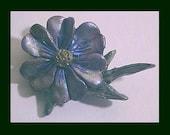 PIN Brooch Purple Blue Flower Polymer Clay
