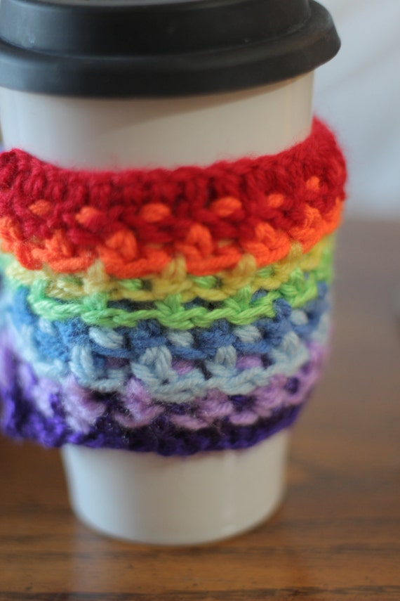 Coffee Cup Cozy wrist cuff Rainbow with button