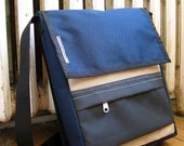 Shoulder Bag Navy and Beige Cordura