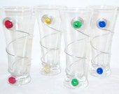 FUN and FUNctional Set of 4 Glass Pilsner Glasses Wrapped with Wire and Glass Beads, free decorated bottle opener
