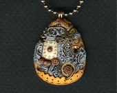 Steampunk  Egg Necklace Gold Tone Polymer Clay Jewelry