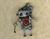 Wizard of Oz Tinman Robot Pin/Brooch Polymer Clay Jewelry
