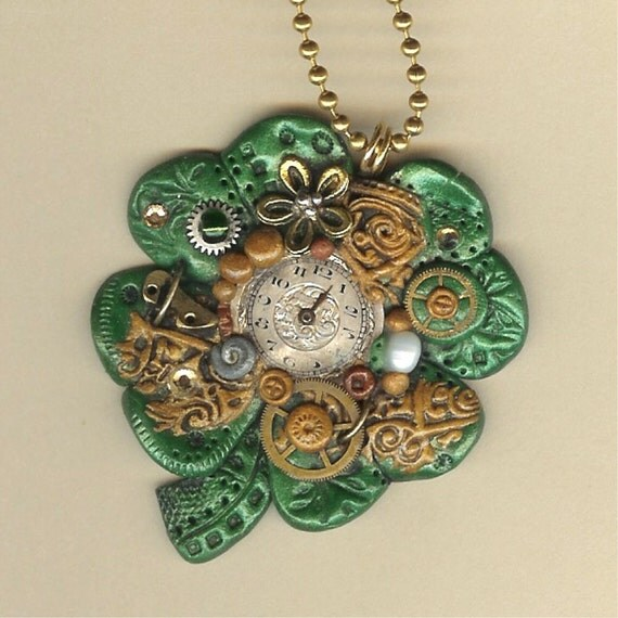 Lucky Steampunk Four Leaf Clover Necklace