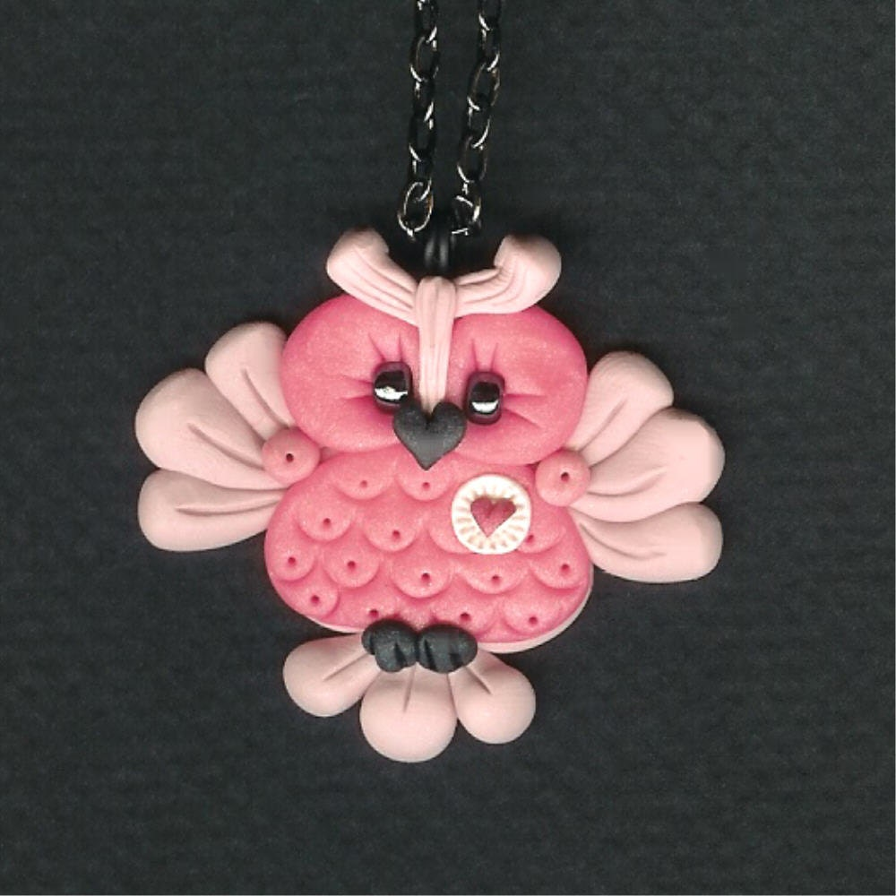 Valentines Day Pink Hooty Owl Necklace Polymer Clay