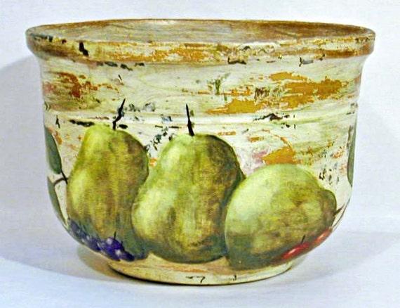 Hand Painted  Pot-  Pears, Cherries, Blueberries, Leaves