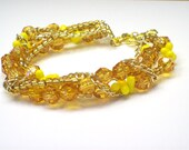 Sunny Yellow Acrylic Faceted Bead and  Chain Bracelet