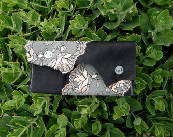 Leather & French Lingerie Lace Clutch