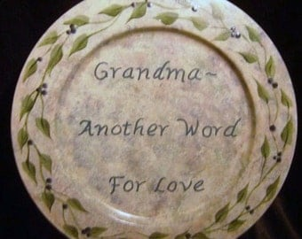 Grandma - Another Word for Love - Decorative Plate - Inspirational