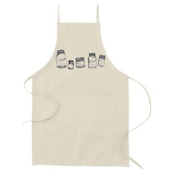 Mason Jar Design- Natural Canvas Apron - Canning, Preserving, Homesteading-