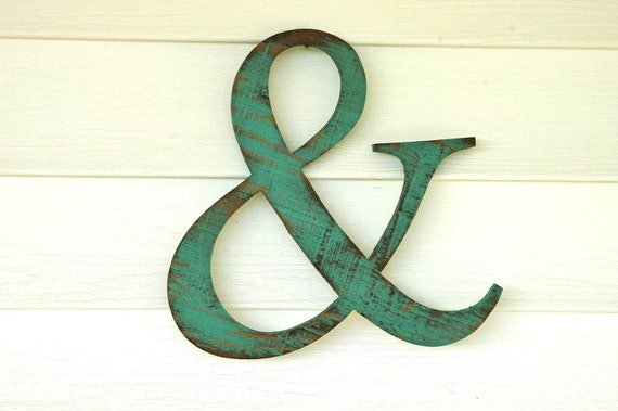 AMPERSAND & AND recyled wood sign - you pick color- wall hanging home decor antique vintage shabby style