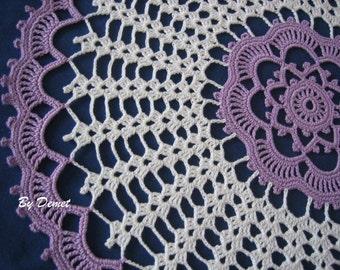 The doily, Hand crocheted,new, white,wood violet,Turkishteam