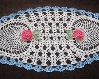 Oval Doily/Runner, New, hand crocheted,ready to mail