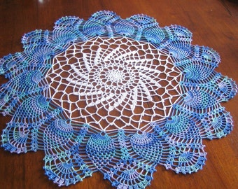 Hand crocheted Ocean blue, white doily/table center, new, Turkishteam, FREE Shipping in the US