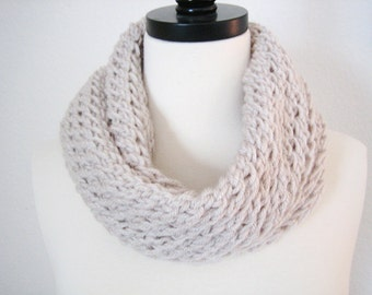 Pale Grey, Hand Knitted chunky Scarf,Holiday Accessories,  New, winter fashion, ready to ship