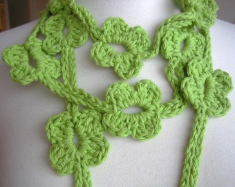 Accessory, Lariat, scarf, new, hand crocheted, green, cotton