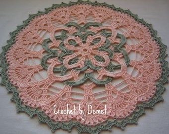 Hand crocheted vanity doily, lace, peach, green, new,AFATC
