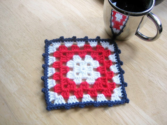 4th of July,Granny squarecrocheted coasters, 4 ea