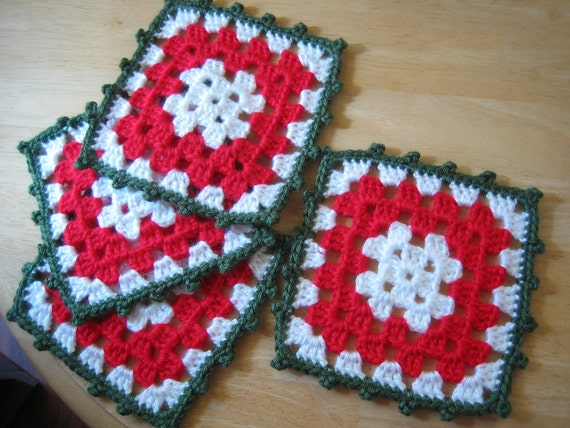 Granny square crocheted coasters,perfect for Christmas, holiday 4 ea,Holiday fashion