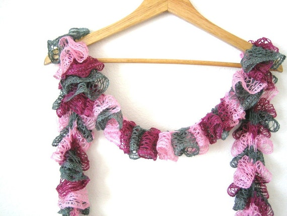 Hand knitted multi colored, gipsy,ruffle scarf,  very soft scarf, new, ready to ship