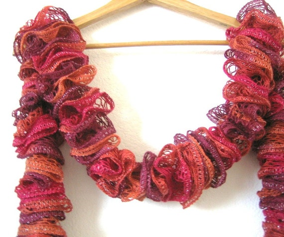 Frilly, sunset colors ,copper, deep burgundy,  knitted, variegated, super soft and stylish, new, spring accessories