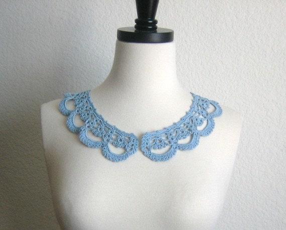 Blue crochet collar, necklace handcrochet, women accessory, new, made by Demet