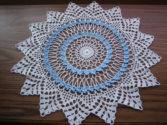 Crochet doily, blue and white,made by Demet new, ready to mail