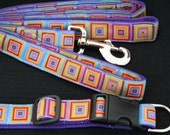 Bright Multi Squares Dog Collar and Leash Set