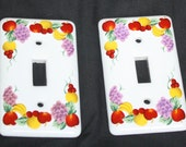 Vintage Fruit Light Switch Covers - Switchplates  - Home and Living - apples - oranges - grapes - cherries