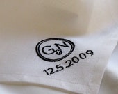 Wedding Linen Handkerchief with Custom Embroidered Monogram