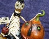 OCTOBER SALE 1 - Skelltini and Pumpkin Jax Antique Box