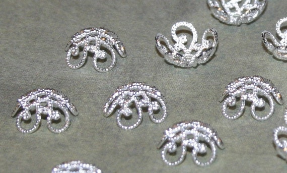 Vintage Style, Silver Color - Brass Bead Caps - 10mm x 5mm - 50 Pieces