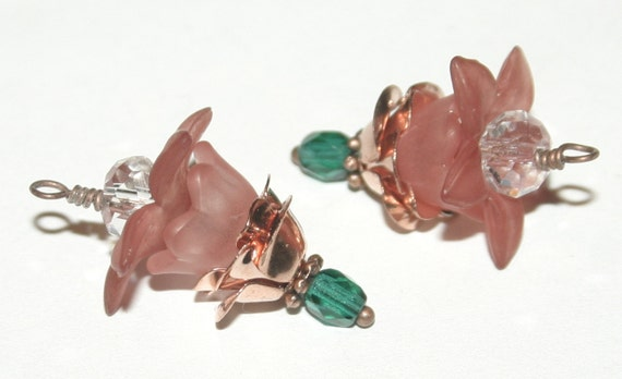 Faceted Glass and Hand Dyed Lucite Flower Charms, Dangles - 2 Pieces, Earring Supplies